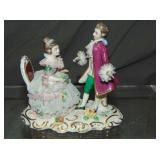 Dresden Porcelain Crinoline Group, Man & Woman