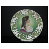 Nippon Coralene Portrait Plate.