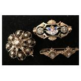 Lot of (3) Gold Victorian Pins/Brooches w/Diamonds
