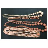 (4) Natural Coral Necklaces w/14K Clasps