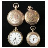 (4) Antique Ladies Gold Case Pocket Watches