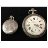 (2) Silver Case Pocket Watches