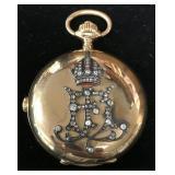 14 Kt Gold & Diamond Royalty Pocket Watch