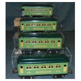 4 Lionel 607 Series Passenger Cars