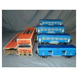 4 Clean Lionel Blue Comet Cars, 3 Boxed