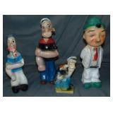 Lot of 4 Various Popeye Carnival Chalkware Statues