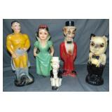Lot of 5 Various Carnival Chalkware Statues