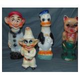 Lot of 4 Various Carnival Chalkware Statues