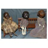 Three Wax Character Dolls, Attr. Mary McEwen