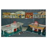 (4) Marx Tin Lithographed Playset Buildings