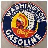 Washington Gasoline Porcelain Advertising Sign