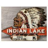 Rare Indian Lake Ohio, Diecut Porcelain Sign