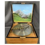 Kalliope Music Box with Disc, & Painted Lid