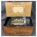 Swiss 12 Tune Music Box with Bells & Butterflies