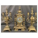 3 Pc Japy Freres French Bronze Clock Set