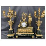 3 Pc French Bronze & Marble Clock Set