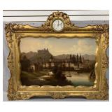19th Century Oil Painting with Clock & Music Box