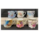 Lot of 6 Decorative Home Shaving Mugs
