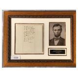 Abraham Lincoln Signed Endorsement.