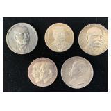(5) Different Zeppelin Commemorative Medals