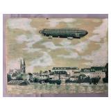 Pen & Ink Illustration of Zeppelin Flying Over