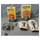 Hopalong Cassidy Spurs and Cuffs. Both Boxed.