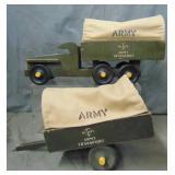 Buddy L Army Transport Truck & Trailer