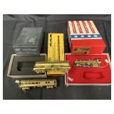 5pc Assorted Brass Trains and Boxes Group