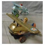 2 Vintage Tin Roll-Over Toy Airplanes