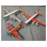 3 Japanese Tin 4-Prop Airplanes