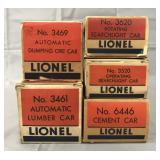 5 Clean Boxed Lionel Freight Cars