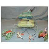 4 Piece Tin Litho Toy Lot