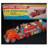 Boxed Mickey Mouse & Donald Duck Fire Engine Japan