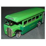 Tin Litho Clockwork Tri-Ang Minic Green Line Bus