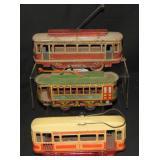 3 Tin Trolley Cars