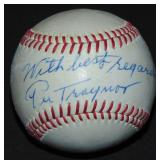 Pie Traynor Signed and Inscribed Baseball.