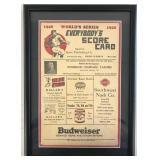 1928 World Series Scorecard, Framed