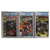Spiderman Lot of Three CGC Graded Books.