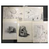 Original Cartoon Art. Lot of Five