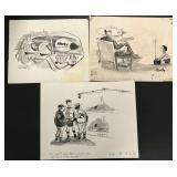 Lot of Three Original Cartoons.
