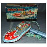 Boxed Remote Control Tin Litho Speed Boat, Japan