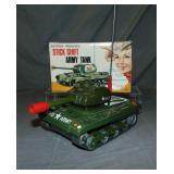 Boxed Battery Op Stick Shift Army Tank, TN Japan