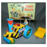Boxed Battery Op Steam Roller with Trailer, Rosko