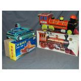 (2) Boxed Battery Ops, Space Tank & Loco