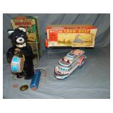 (2) Battery Ops, Whistling Show Boat/Drummer Bear