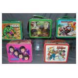 (5) Vtg Metal Lunchboxes, Hulk, Munsters, Osmonds