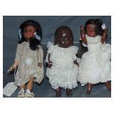 Lot of Three Black Bisque Dolls.