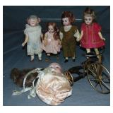 Lot of Five Smaller Bisque Dolls.