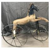 Early Wooden Horse Tricycle.