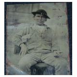 Tintype of a Gold Miner Holding Nuggets